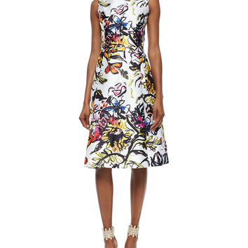 Abstract Floral-Print Fit-And-Flare Dress, Size: