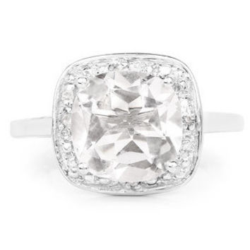 A Perfect 2.52CT Cushion Cut Crystal Quartz Halo Engagement Ring