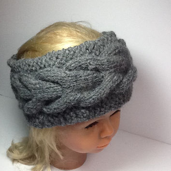 Chunky Cable Knit Headband, grey acrylic/wool blend,  soft, warm, neutral colored head wrap, fleece lined option