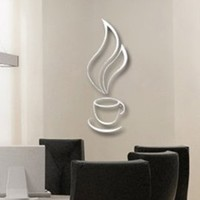Toprate(TM) Silver Hot Coffee Cup Smoke Modern Stylish Simple Style Fashion Art Design Removable DIY Acrylic 3D Mirror Wall Decal Wall Sticker for Kitchen Dining Room Home Decoration:Amazon:Home & Kitchen