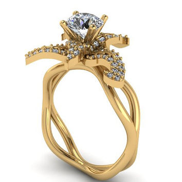 Flower Lily Diamond Engagement Ring Charles & Colvard Forever Brilliant Moissanite Center Unusual 14K Yellow Gold Engagement Ring  - V1124