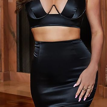 Run This Town Satin Sleeveless Plunge V Neck Crop Top Two Piece Bodycon Mini Dress - 2 Colors Available