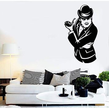 Large Wall Stickers Vinyl Decal Sherlock Holmes Retro Guy With Pipe Unique Gift (z2014)