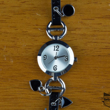 ZipSteelCo Women's Small Stainless Steel Watch with Charms