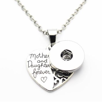 Silver Mother and Daughter Love Heart Pendant For Women Snap Necklace Fit 18mm/20mm DIY Snap Buttons Mother's Day Gift Jewelry