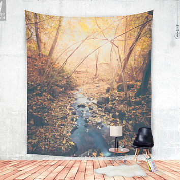 Blue cola mountain Wall tapestry - Lovely autum colors in the forest up on the mountain, all featuring a wanderlust and adventure feeling.
