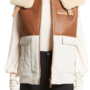 Chloé Genuine Shearling Trim Leather & Cotton Vest | Nordstrom