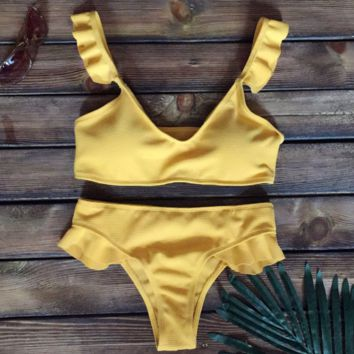 Sexy Fashion Pure Color Contracted Solid Ruffle Bikini Set yellow
