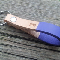 Personalized Violet Leather Keychain