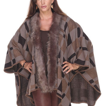 Plaid Cape with Fuux Fur - Taupe