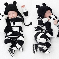 Newborn Baby Rompers Boy Clothing White Black Striped Unisex Baby Costume Infant Long Sleeve Jumpsuits Baby Girls Clothes