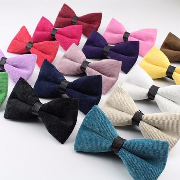 Men's High Quality Bow Tie Chunky Bowtie Smooth Solid Corduroy Necktie Soft Cotton Butterfly Decorative Pattern Ties