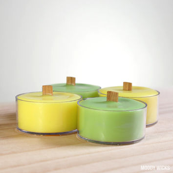 Wooden Wick Soy Palm Tealight Candle - Scented Lime - Green and Yellow - Set of 4