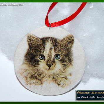 Cat Christmas decoration,  handmade Christmas decoration, decoupage decoration, Christmas Ornament, Christmas Gift.