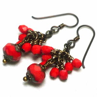 Czech Tomato Red Picasso and Crystal Niobium Dangle Earrings