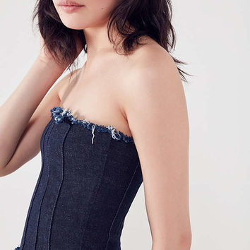 BDG Frayed Denim Bustier Top | Urban Outfitters
