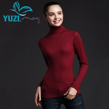 Sweater Women 2017 Yuzi.may Casual New Autumn Pullover Long Sleeve Turtleneck Crochet Stretchy Sweaters YS6302 Pullovers Femme