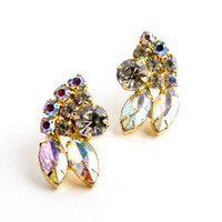 Vintage Rhinestone Aurora Borealis Earrings - Gold Tone Clip On Costume Jewelry / Formal Sparkles