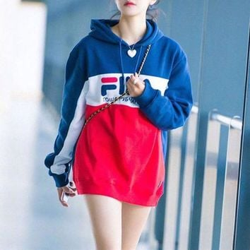 """FILA"" Women Multicolor Letter Print Middle Long Section Long Sleeve Hooded Sweater Sw"