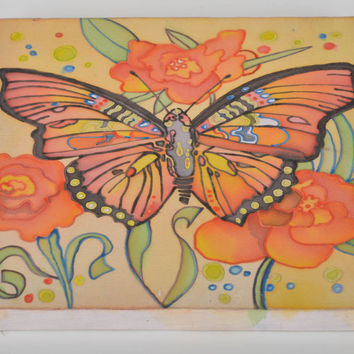 Beautiful colorful handmade designer cold batik picture Butterfly wall decor