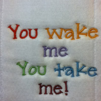 embroidered diaper burp cloth,embroidered in multi color thread