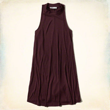Ribbed Mock Neck Swing Dress