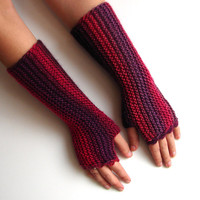 Red and burgundy fingerless gloves, marsala colors Valentine's day texting gloves, seamless handknit soft armwarmers, more colors available