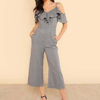 Cold Shoulder Ruffle Trim Wide Leg Striped Jumpsuit