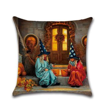 Cushion Cover For Halloween Decoration Cotton Linen Pillow Case For Sofa Bedroom Pumpkin Cat Bat Wizard Printed Decorative