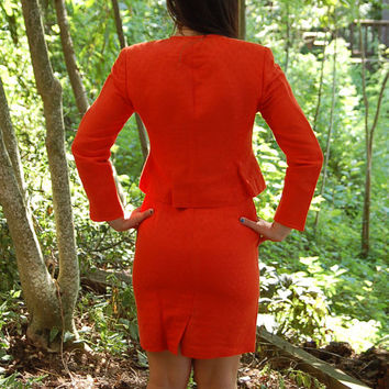 Vintage Christian Dior suit, orange suit, short zipped jacket, short pencil skirt, Size 8P