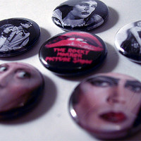 "ROCKY HORROR PICTURE Show 1"" pinback button set (Movies, Tim Curry)"