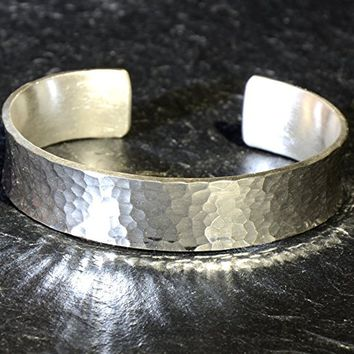 Heavy sterling silver cuff bracelet with hammered texture