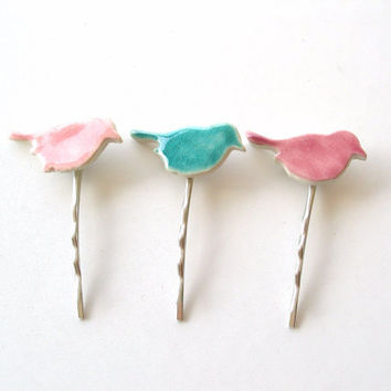 3 Cute bird bobby pins pink and turquoise glazed ceramic silver tone hair pins pastels