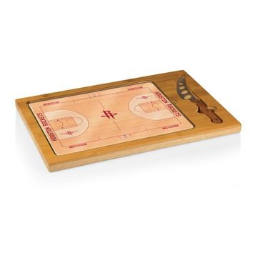 Houston Rockets - 'Icon' Glass Top Serving Tray & Knife Set by Picnic Time (Basketball Design)