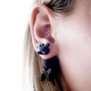 fake gauge plug two part earrings bear, Polymer clay, handmade