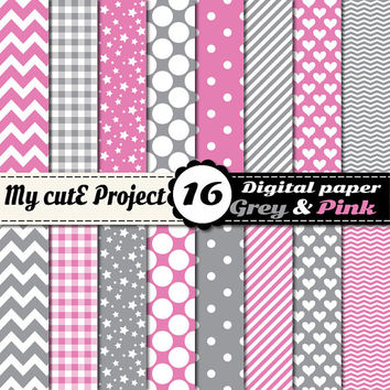 Grey and Pink - Digital paper pack - Scrapbooking & graphic design - 12x12 - A4 - Polka dots, heart, chevron, stripes, gingham, stars