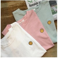 Embroidered Smiley Boxy T-Shirt
