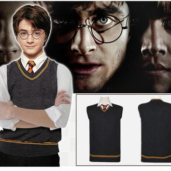 Harry Potter V-neck Sweater Gryffindor COS Daily Men and Women With Sweaters Sleeveless Warm Cosplay Sweater