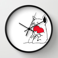 Frenchie Heart Wall Clock by Huebucket