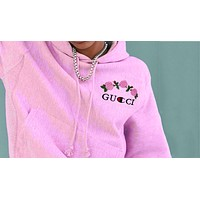 GUCCI : Champion Rose Print Sweater Pink hoodie pullover Hoodie