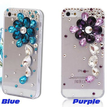 Free Phone Case & New Sparkly Gems Flower Style DIY Deco Kit Decoden Kit Cabochon Deco Kit For DIY Cell Phone iPhone 4G 4S 5 Case