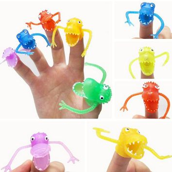 Free shipping 5 pieces/lot Novel plastic finger puppet story Mini dinosaur toys with small finger Gashapon toys GYH