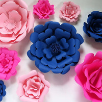 """3D Paper Flower Wall, Nursery decor, Giant paper roses, set of 9 wedding decorations, patriotic party supplies, bridal shower decor 6-16"""""""