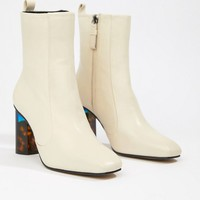 Kurt Geiger Cream Leather Heeled Ankle Boots With Tortoise Effect Contrast Block Heel at asos.com