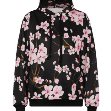 3D Flower Pattern Womens Sweatshirt Hoodies