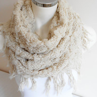 Cream colored shawl,  Cream ecru scarf, Sand colored scarf, Fluffy scarf, Long soft shawls, Valentine's day gift, Women's Fashion