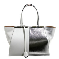 Fendi White and Silver Leather BiColor Trois Jours Tote Bag