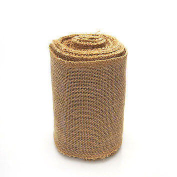 Natural Burlap Roll Sewn Edge Eco-friendly, 10-yard