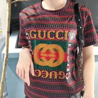 """Gucci "" Women Casual Fashion Retro Stripe Pattern Letter Embroidery Short Sleeve T-shirt Tops Tee"