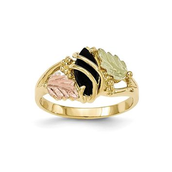 10k Tri-color Black Hills Yellow Gold Onyx Ring